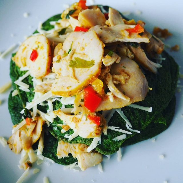 From the other dayspinach pancakes topped with chicken and cheesetastyyyhellip