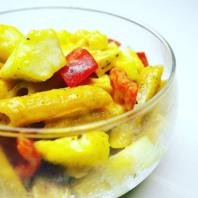 Pea protein pasta with cheesy sauceveggiessmoked tofu and halloumi sohellip